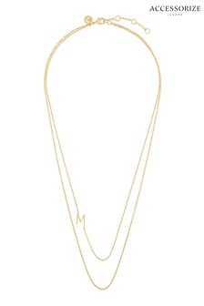 Accessorize Gold Plated Double Chain Initial Necklace - M