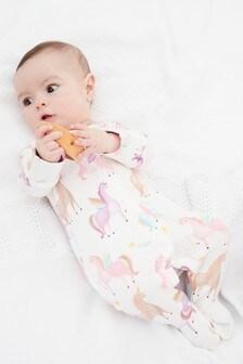 Pink Unicorn Single Printed Sleepsuit (0-2yrs)