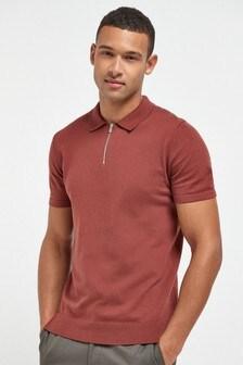 Red Premium Zip Neck Polo Shirt