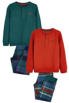 Autumnal 2 Pack Check Pyjamas (3-16yrs)