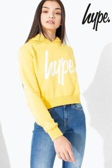 Hype. Yellow/White Script Kids Crop Hoody