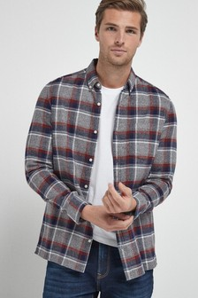 Grey Slim Fit Check Brushed Long Sleeve Shirt