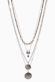 Silver Tone Multi Layer Beaded Sparkle Necklace