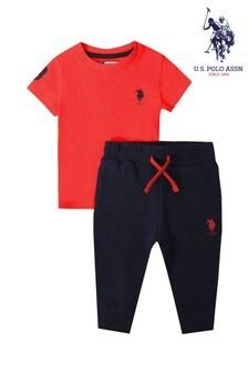 U.S. Polo Assn. Red Player 3 T-Shirt & Jogger Set