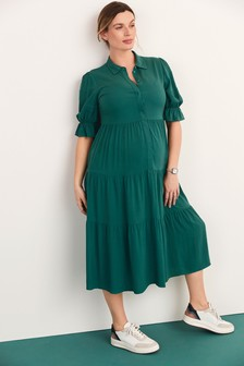 Green Maternity/Nursing Tiered Midi Shirt Dress