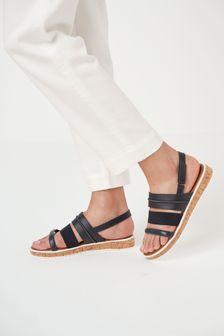 Navy Regular/Wide Fit Forever Comfort® Cork Flatform Sandals