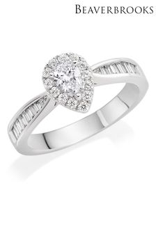 Beaverbrooks Platinum Diamond Pear Shaped Halo Ring
