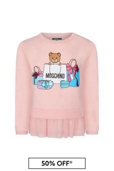 Moschino Baby Girls Pink Cotton Sweater