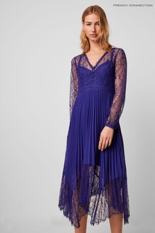 French Connection Blue Bikita Lace Mix Handkerchief Hem Dress