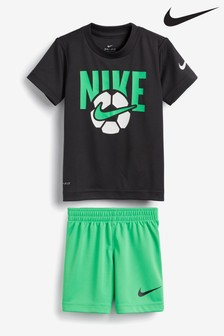 Nike Little Kids Black/Green Football T-Shirt and Shorts Set