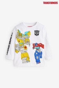 White Jersey Transformers Long Sleeve T-Shirt (3mths-8yrs)