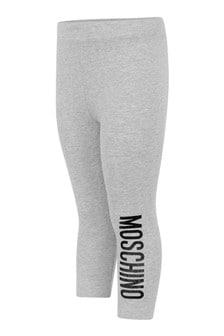 Baby Girls Grey Cotton Logo Leggings