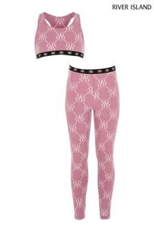 River Island Pink Crop Top Underwear Set