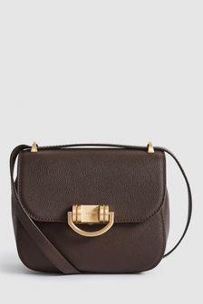 Reiss Brown Lexi Mini Leather Cross Body Bag