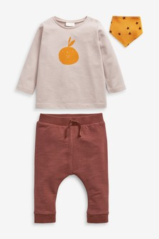 Rust 3 Piece T-Shirt, Bib And Joggers Set (0mths-2yrs)