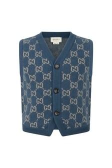 Boys Light Blue Wool GG Vest