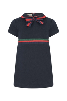 GUCCI Kids Baby Girls Navy Cotton Dress