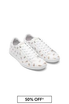 حذاء رياضي أبيض/ذهبي بناتي