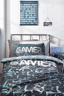 Black Gamer Reversible Duvet Cover and Pillowcase Set