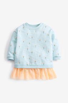 Blue Floral Mesh Hem Sweatshirt (3mths-7yrs)