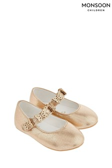 Monsoon Gold Baby Abilene Corsage Glitter Walker Shoes