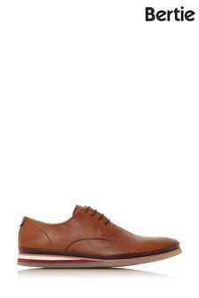 Bertie Booster Tan Leather Perforated Wedged Gibson Shoes