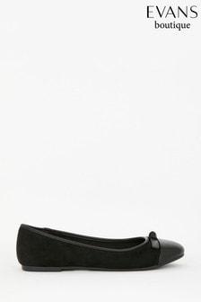 Evans Extra Wide Fit Black Toe Cap Ballerina Pumps