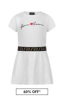 Baby Girls White Cotton Logo Dress