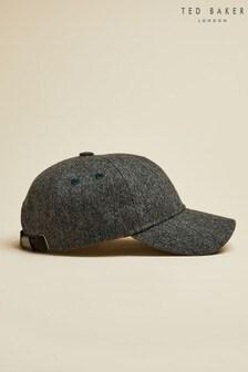 Ted Baker Grey Hestun Semi Plain Wool Blend Baseball Cap