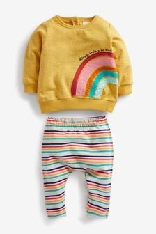 Ochre 2 Piece Rainbow Sweater And Leggings Set (0mths-2yrs)