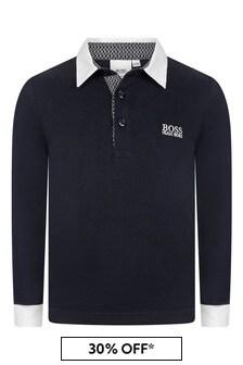 Boys Navy Cotton Poloshirt