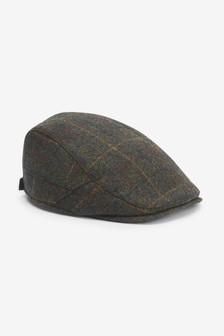 Green Check Flat Cap