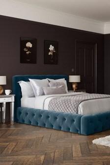 Opulent Velvet Marine Harper Buttoned Bed