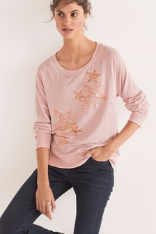 Blush Cosy Embellished Raglan Top