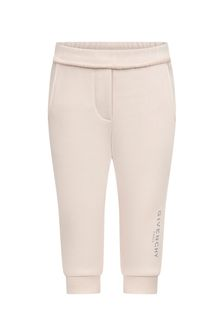 Baby Girls Pink Cotton Joggers