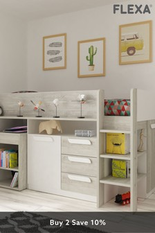 Girona Midsleeper With Desk, Chest, Cupboard And Shelving By Flexa