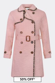 Girls Pink FF Logo Trench Coat