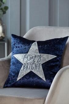 Crushed Velvet Merry & Bright Cushion