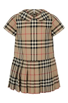 Baby Girls Beige Vintage Check Dress
