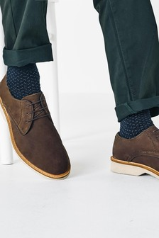 Brown Nubuck Leather Derby Shoes