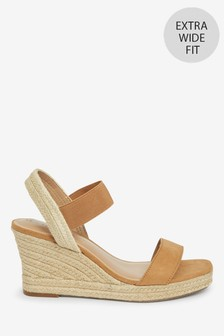 Tan Extra Wide Fit Square Toe Espadrille Wedges