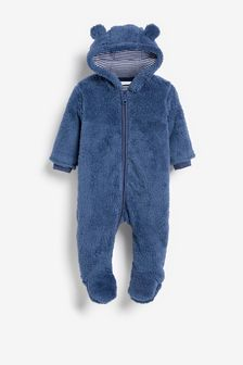 Navy Cosy Fleece Bear Pramsuit (0mths-2yrs)