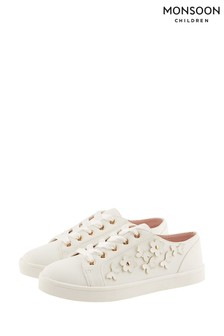 Monsoon Ivory Butterfly Trim Trainers