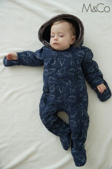 M&Co Kids Blue Dinosaur Snowsuit