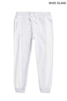 River Island Grey Texture Blocked Joggers
