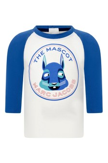 Baby Boys Ivory/Blue Cotton Jersey T-Shirt