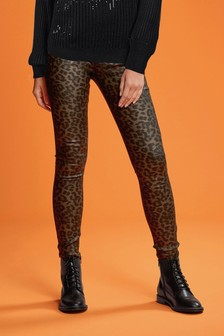 Leopard Print Coated Skinny Jeans