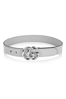 Grey Leather Belt With Silver Buckle