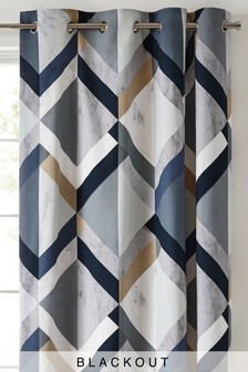 Eyelet Single Overscale Bold Geo Curtain