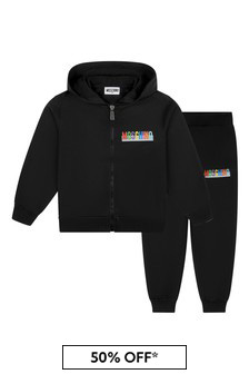Moschino Boys Black Cotton Tracksuit